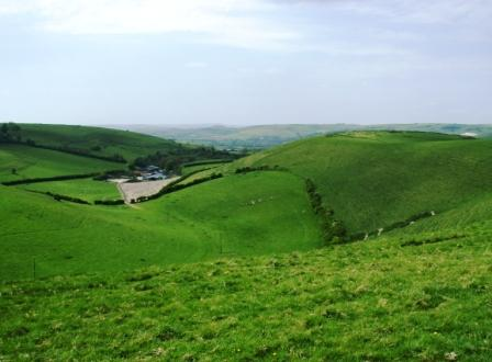 Spectacular Dorset views to the west of the B&B with ancient 'Danish Camp' hill fort.
